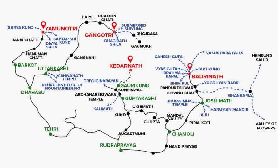 Char Dham Yatra Route MapChar Dham Yatra Route Map With Distance - Map route distance